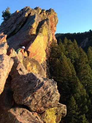 Climber near the top of First Flat Iron