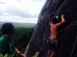 Spencer a few pitches up on Pendulum route, Cathedral