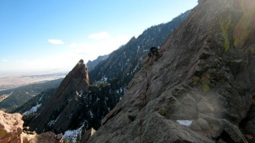 Erik Thatcher finishing the 1st Flatiron, Boulder CO PC: Mark Walters