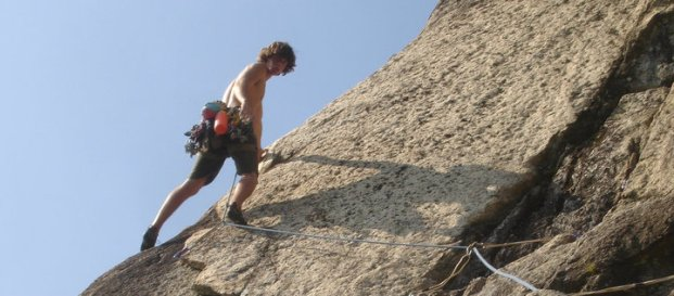 Adam Bofinger on the Beast Flake, Cathedral Ledge