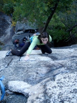 Alexa Siegel at the top of the twin finger crack on Airation (5.11a)