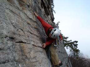 Erik Thatcher gear hunting in the Gunks. PC: Bruce Althouse