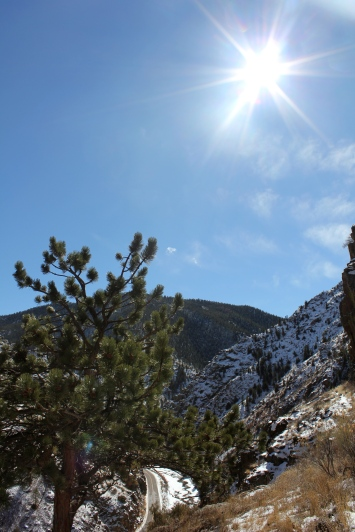 Sun and snow in the Poudre Canyon