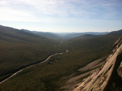 The view south through Franconia Notch, from Cannon Cliff