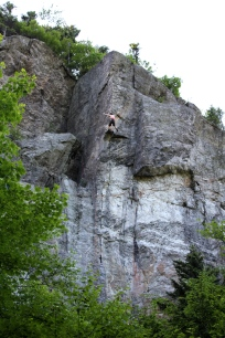 Tom Zaleski whipping off the upper crux of Wild Life (5.12b) at Wild River