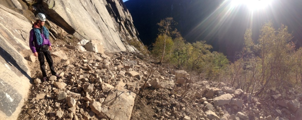 James Otey surveying the damage of recent rock fall near Moby Grape