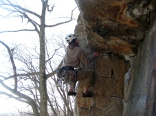 Erik Thatcher on Retribution in the Gunks. PC: Jim Shimberg