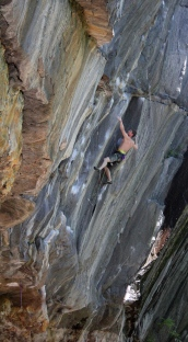 James Otey in the Barracuda (5.13d) corner as part of the Cold War link up
