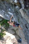 Andy Neuman on the Tin Man crux (5.13a) Orange Crush