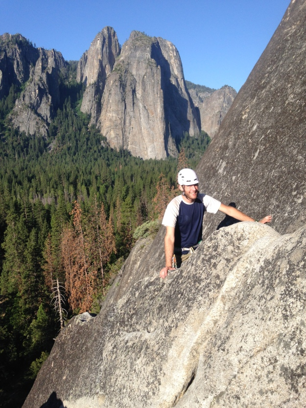 Paul Coming up to the Anchor on P2 of Nutcracker in Yosemite