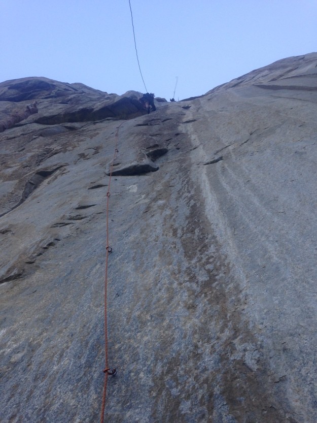 Paul leading the pitch 1 bolt ladder on The West face of Leaning Tower