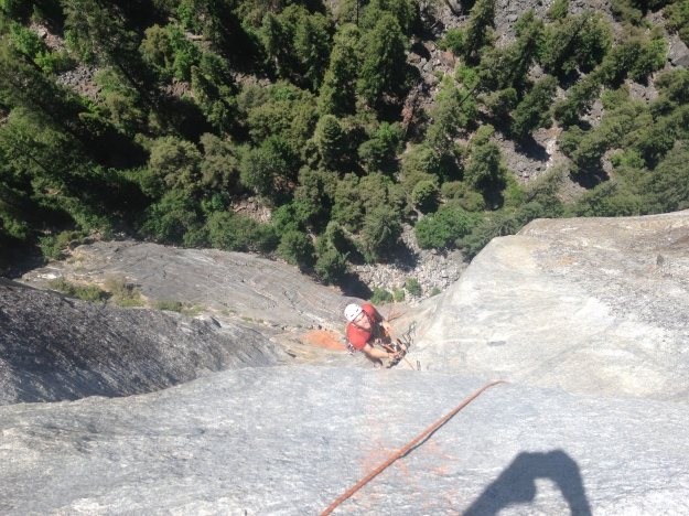 Paul cleaning pitch 4 of the West face of Leaning Tower