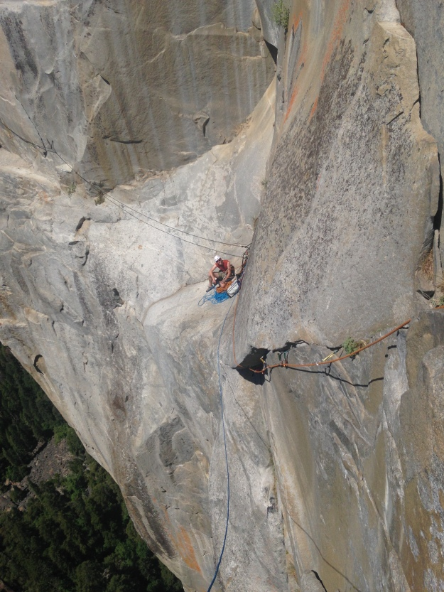 Paul at Awahnee Ledge as Erik leads Pitch 5 of the West Face of Leaning Tower