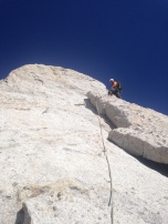 Paul nearing the top of Cathedral Peak, Tuolumne Meadows