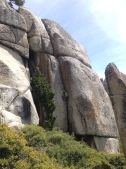 Offwidth cragging at Olmstead Point in Tuolumne Meadows