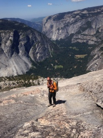 Endless 3rd class slab bin' to get to the summit of Half Dome from Snake Dike