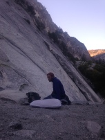 Paul waking up at our bivy at the base of Glacier Point