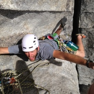 Paul nailing the beached whale crux beta to finish P2 of Corrugation Corner, Lover's Leap