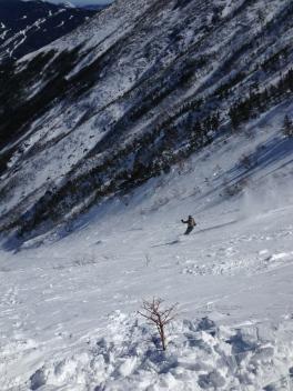 Clients skiing Hilman's Highway
