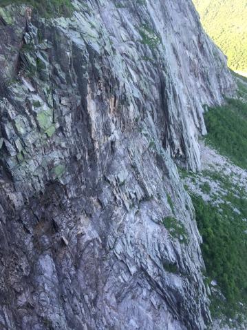 Rock scar and debris atop Cannonade Butrress